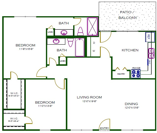 1,280 sq. ft. C5WD floor plan