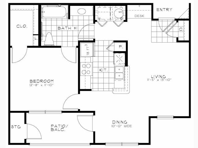 750 sq. ft. Hawthorne/Mkt floor plan
