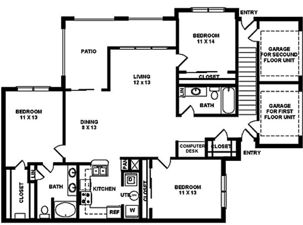 1,368 sq. ft. FG1 floor plan
