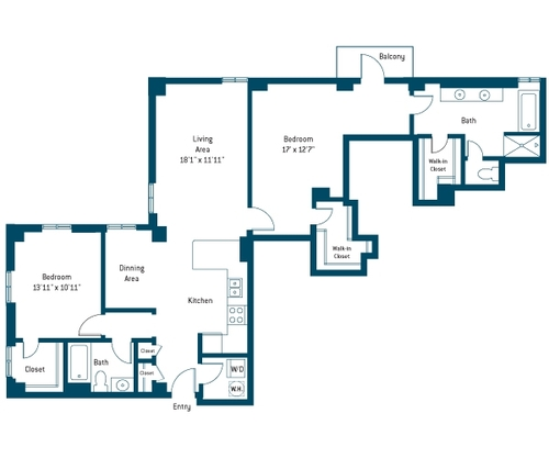 1,381 sq. ft. CO floor plan