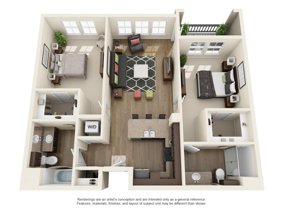 1,084 sq. ft. B1 floor plan