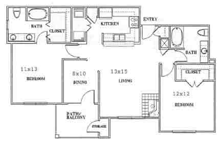 1,125 sq. ft. to 1,196 sq. ft. F floor plan
