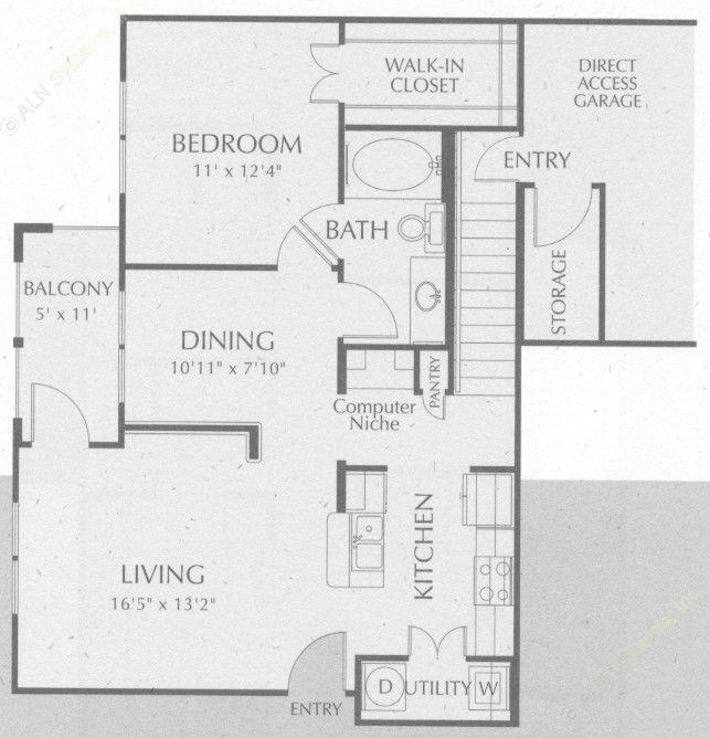 815 sq. ft. Sabine floor plan