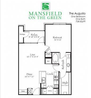 728 sq. ft. Augusta floor plan