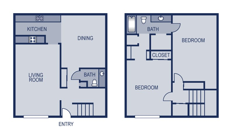 1,414 sq. ft. Townhome floor plan