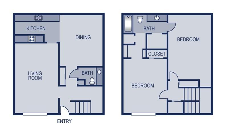 1,414 sq. ft. Townhome floor plan