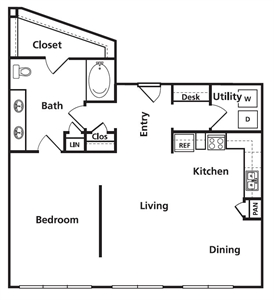 916 sq. ft. B1 floor plan