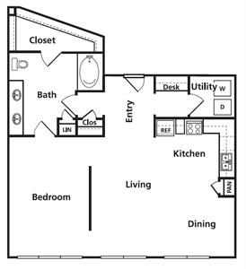 916 sq. ft. B1 floor plan