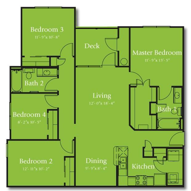 1,366 sq. ft. 60% floor plan