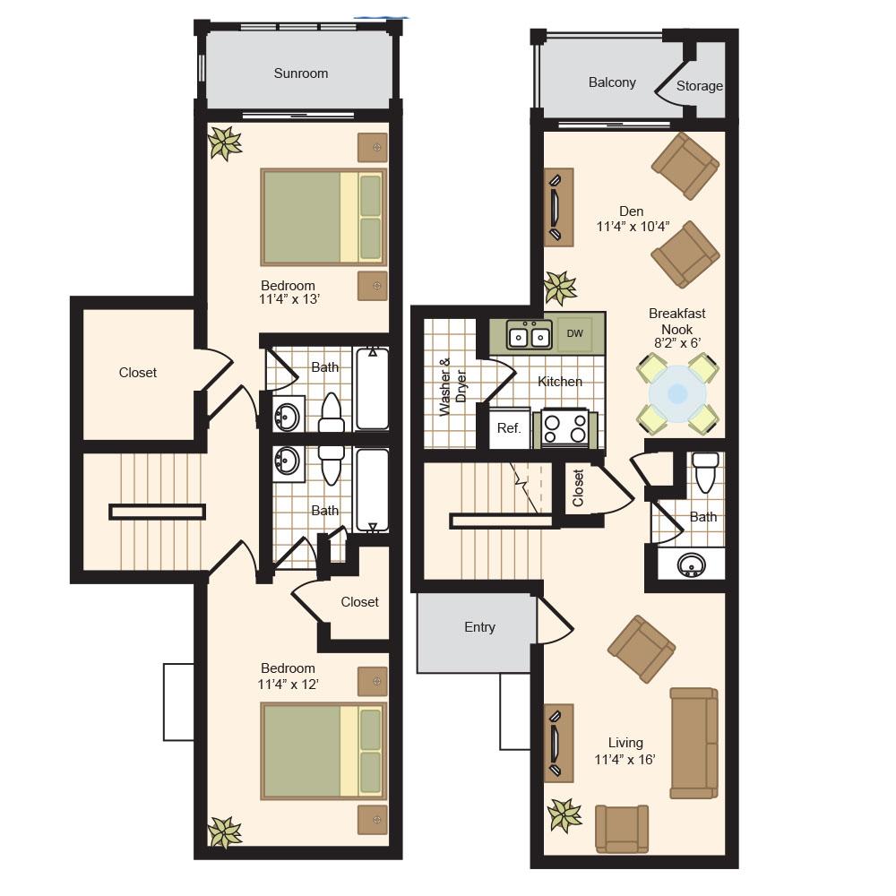 1,235 sq. ft. E floor plan