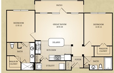 1,152 sq. ft. Pedernales floor plan