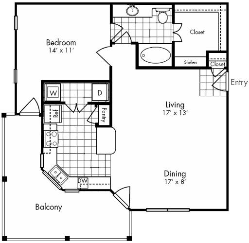 910 sq. ft. SAGE floor plan
