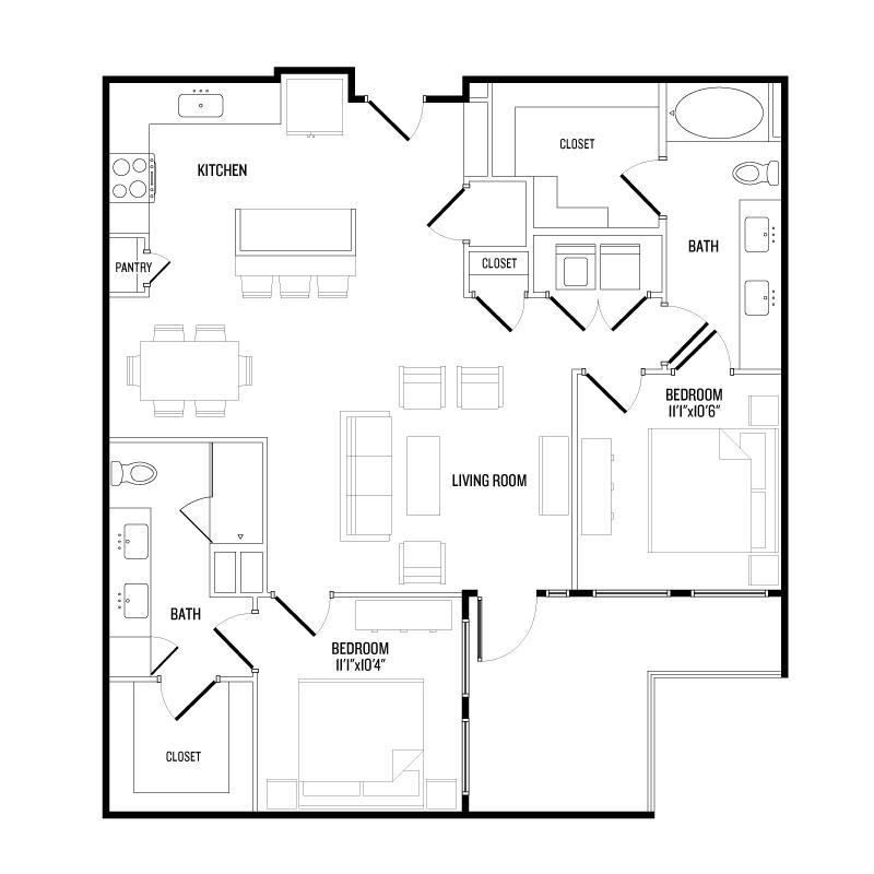 1,147 sq. ft. B4 floor plan