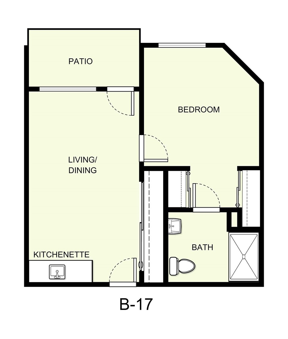 542 sq. ft. B17 floor plan