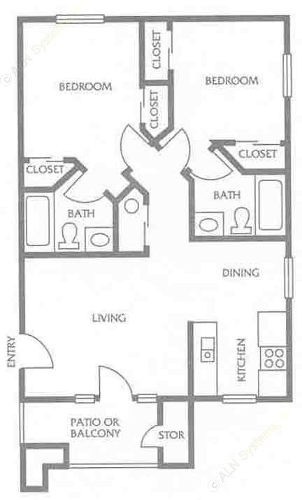 759 sq. ft. to 901 sq. ft. F floor plan