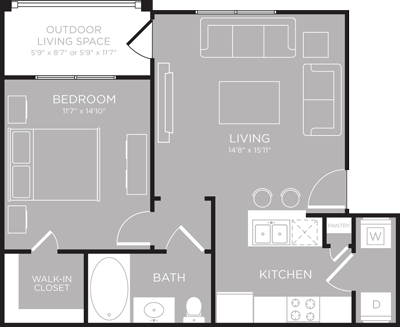 652 sq. ft. Champlain floor plan
