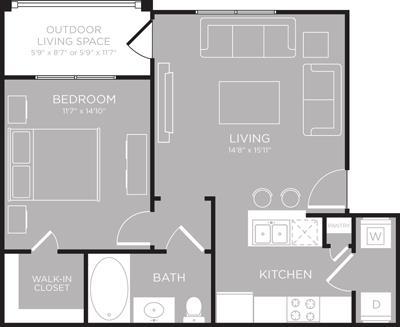 652 sq. ft. Champlain floor plan