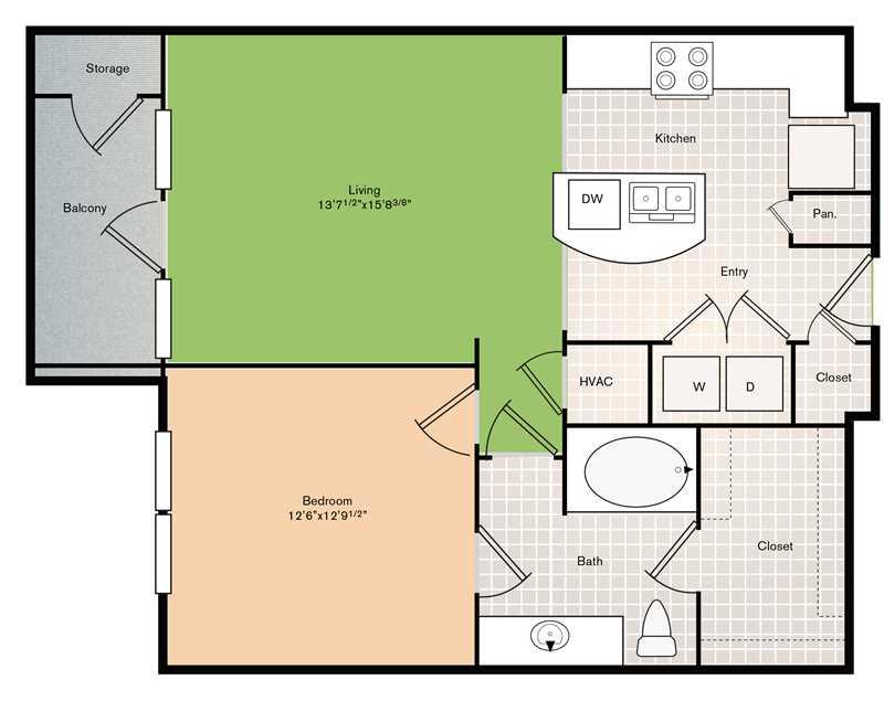 843 sq. ft. A3 floor plan
