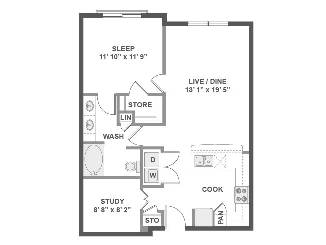 877 sq. ft. A4A floor plan