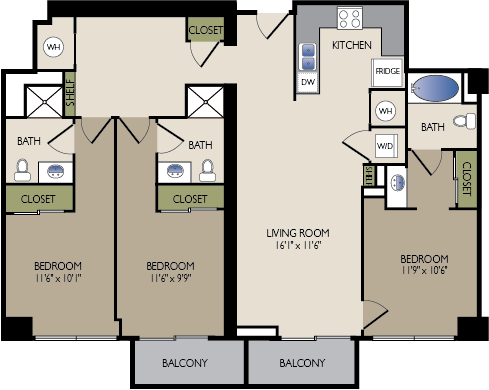1,374 sq. ft. H floor plan