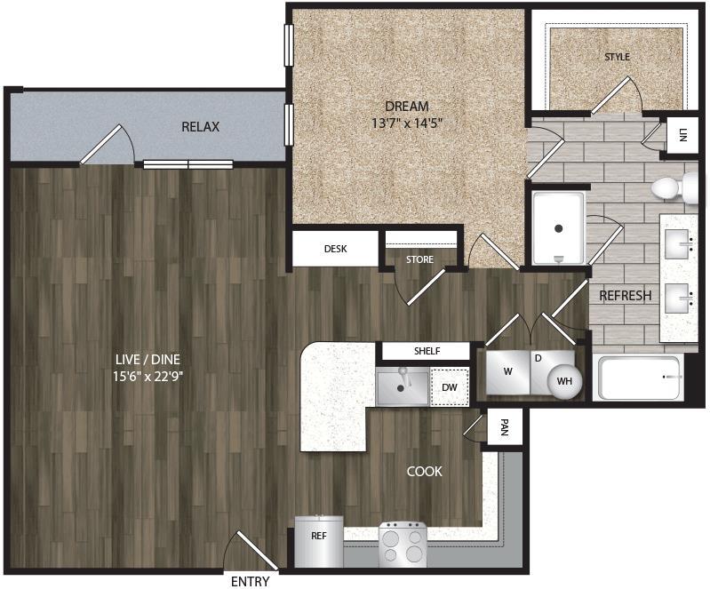 992 sq. ft. A5 floor plan