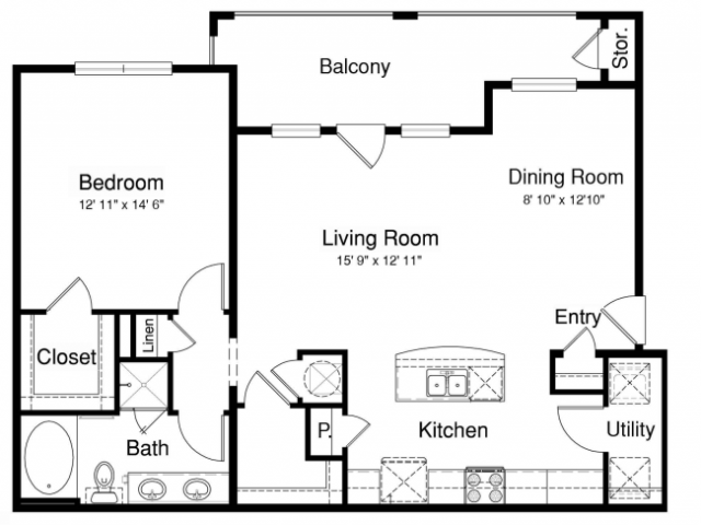 860 sq. ft. A2-2 floor plan