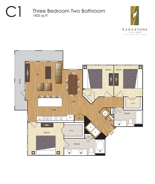 1,402 sq. ft. C1 floor plan