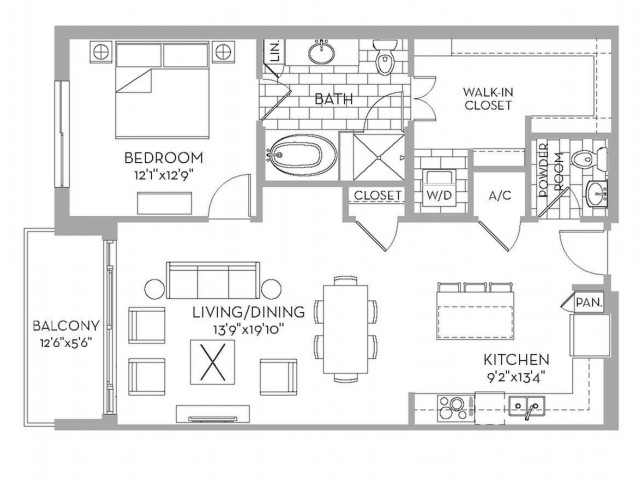 999 sq. ft. Douglas(A.9) floor plan
