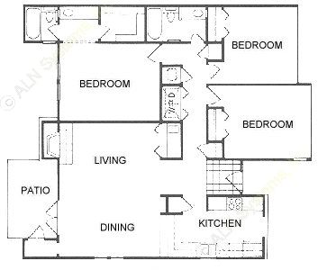 1,488 sq. ft. B floor plan