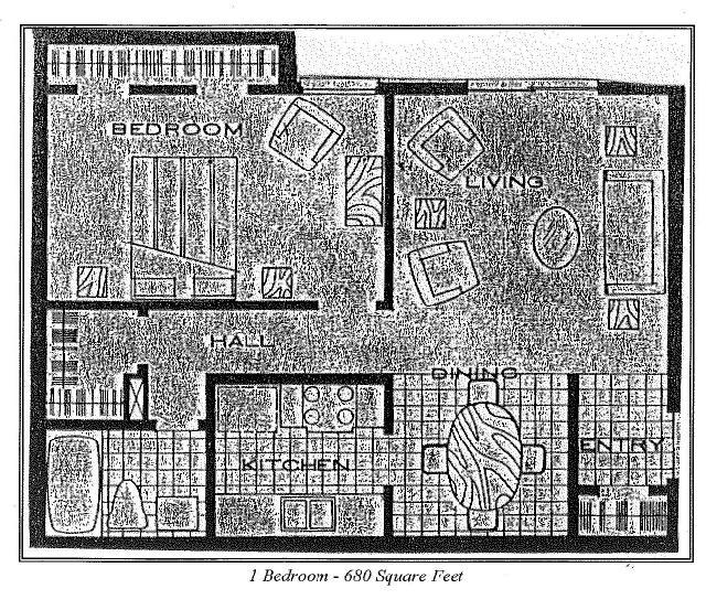 680 sq. ft. 1a floor plan