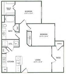 908 sq. ft. Bay Oaks floor plan