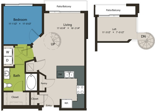 800 sq. ft. A8H-A floor plan