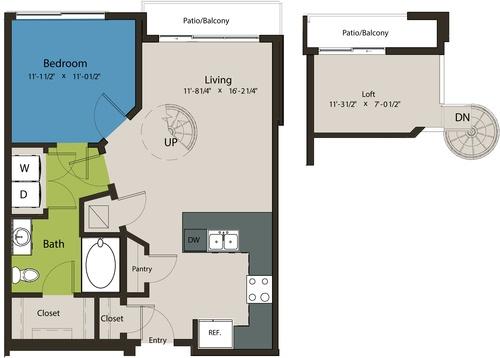 800 sq. ft. A8H-A floor plan