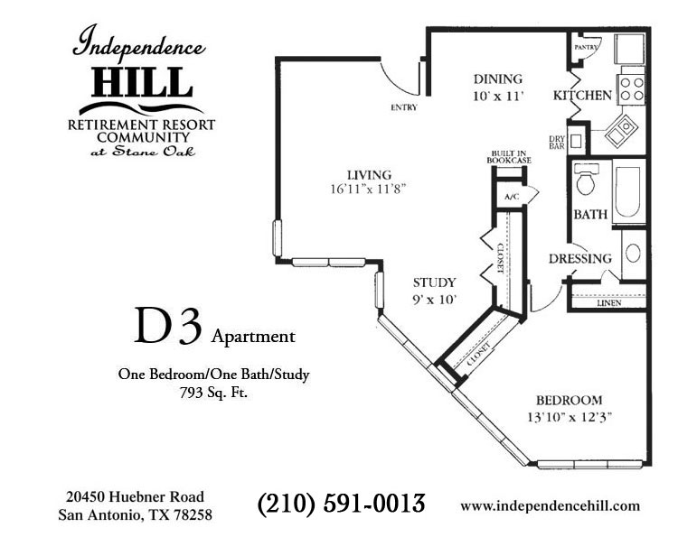 793 sq. ft. D3 floor plan