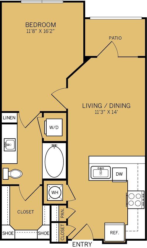670 sq. ft. A1A floor plan