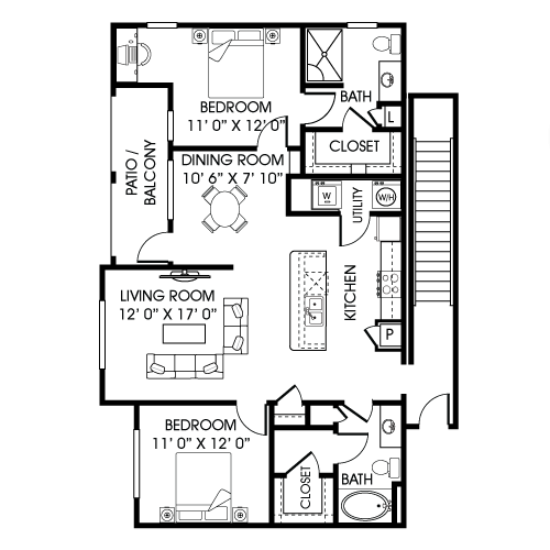 1,293 sq. ft. B3-B floor plan