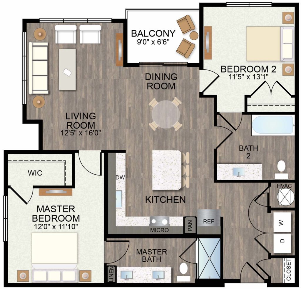 1,211 sq. ft. Wineecup floor plan