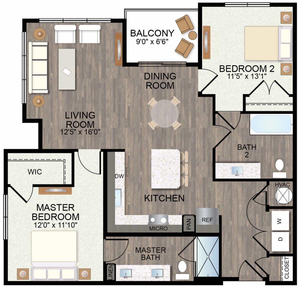 1,211 sq. ft. Wineecup floor plan