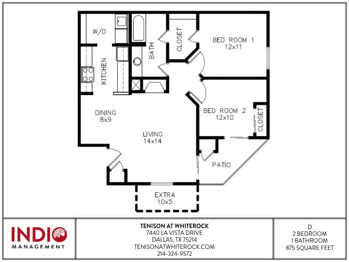 875 sq. ft. to 930 sq. ft. D floor plan