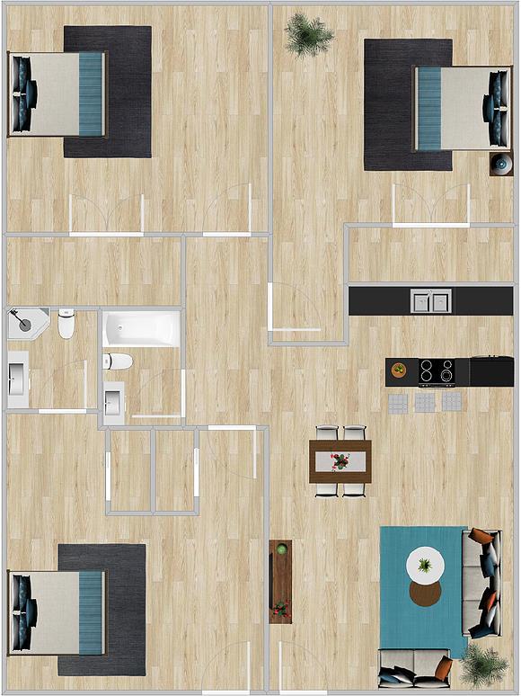1,280 sq. ft. floor plan