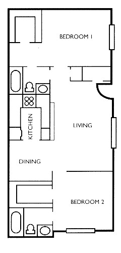 943 sq. ft. Willow floor plan