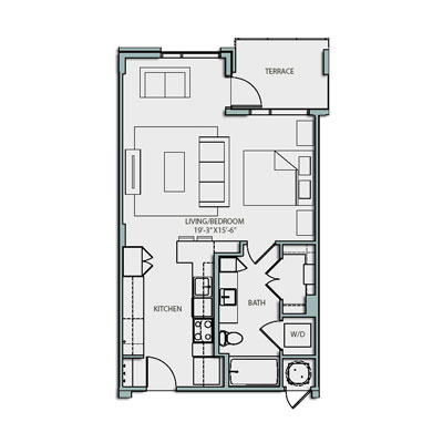623 sq. ft. S1 floor plan
