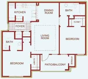 1,056 sq. ft. Drake floor plan