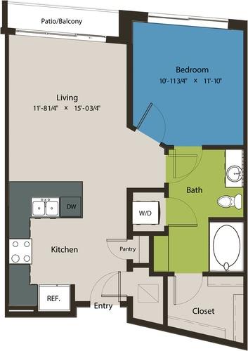 702 sq. ft. A8L floor plan