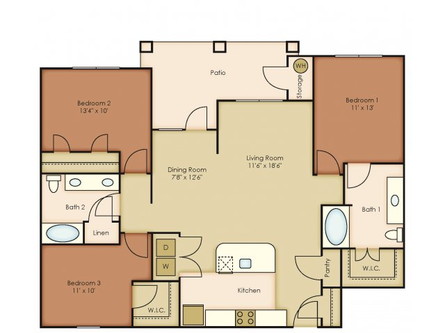 1,330 sq. ft. C1 floor plan