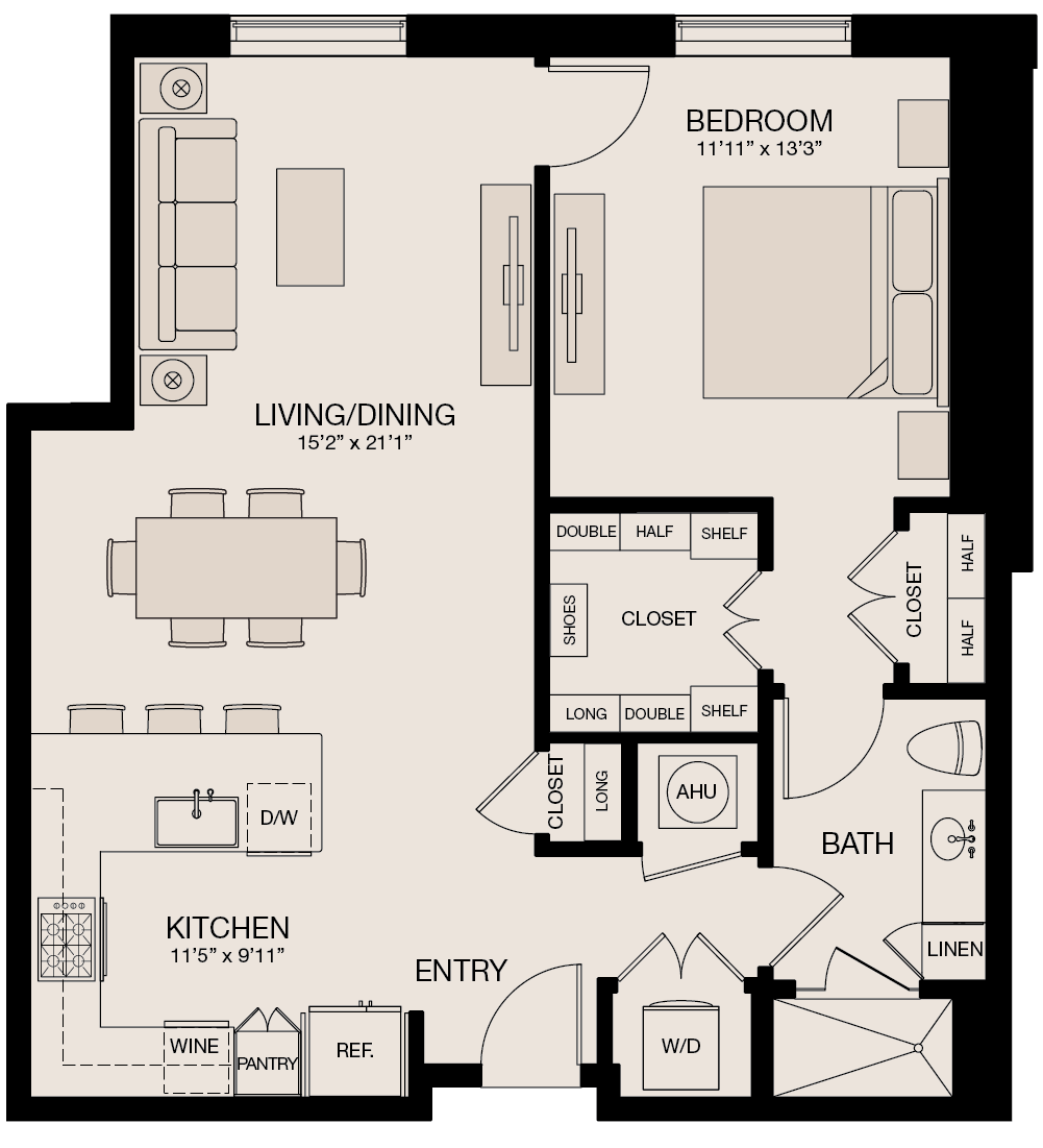 929 sq. ft. floor plan