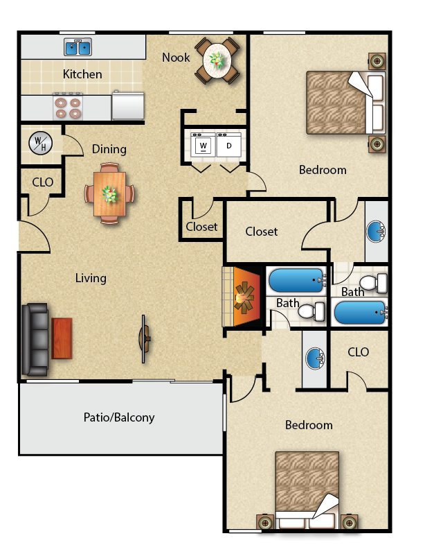 1,214 sq. ft. 2B floor plan