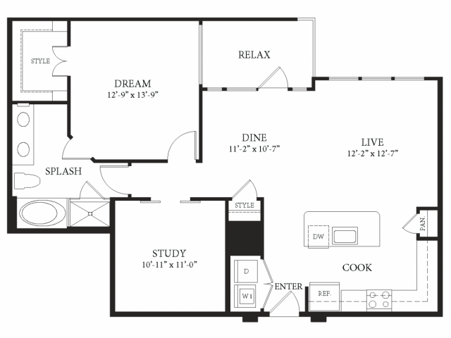 1,065 sq. ft. Getty floor plan