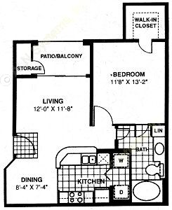 637 sq. ft. A2 floor plan