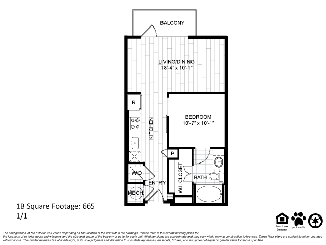 665 sq. ft. 1B floor plan